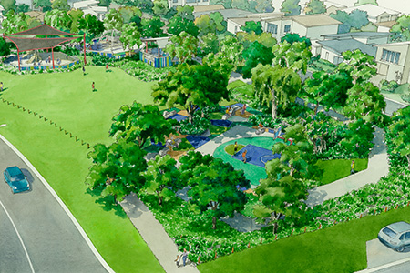 Artists impression of Bluewattle community area