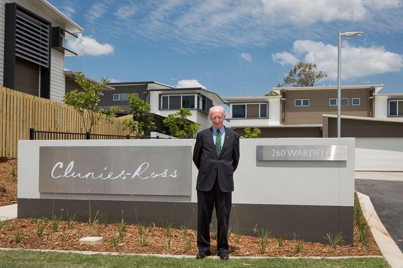 Photo: Major General Adrian Clunies-Ross, AO, MBE (Ret'd) outside Defence Housing Australia's 'Clunies-Ross' residential development