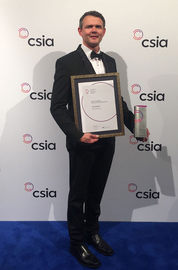 Photo: Brett Jorgensen won Customer Service Executive of the Year at the 15th annual Australian Service Excellence Awards (ASEA).